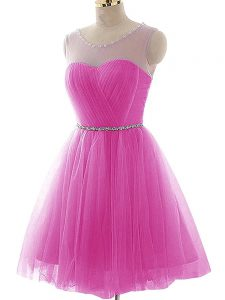 Graceful Tulle Sleeveless Mini Length Prom Dresses and Beading and Ruching