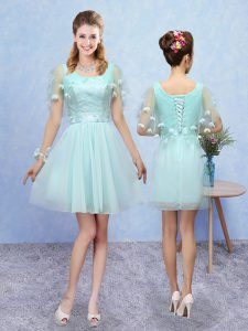 Best Selling Sleeveless Mini Length Appliques Lace Up Damas Dress with Aqua Blue
