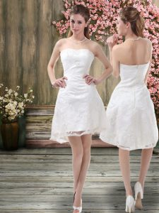 Super White A-line Off The Shoulder Sleeveless Organza Mini Length Zipper Embroidery Wedding Gowns