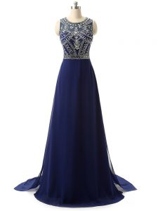 Stylish Navy Blue Column/Sheath Beading Prom Party Dress Zipper Chiffon Sleeveless