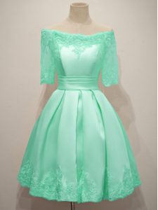 Flare Turquoise A-line Lace Dama Dress Lace Up Taffeta Half Sleeves Knee Length