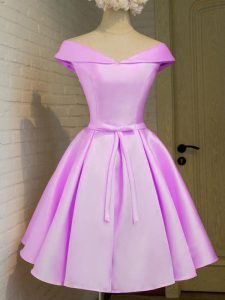 Lilac A-line Taffeta Off The Shoulder Cap Sleeves Belt Knee Length Lace Up Vestidos de Damas