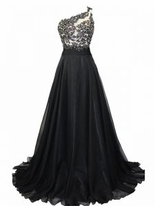 Gorgeous Black Evening Dresses Prom and Party with Beading and Lace One Shoulder Sleeveless Brush Train Side Zipper