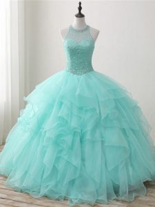 Sleeveless Organza Floor Length Lace Up Quinceanera Gown in Apple Green with Beading and Ruffles
