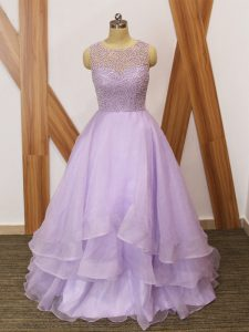 Unique Lavender Zipper Scoop Beading and Ruffles Dress for Prom Organza Sleeveless Brush Train