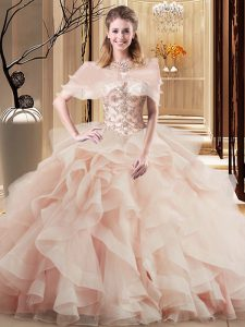 Scoop Sleeveless Quinceanera Gown Brush Train Beading and Ruffles Peach Tulle