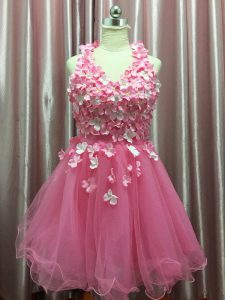 Customized Sleeveless Tulle Mini Length Backless Evening Dress in Pink with Hand Made Flower