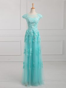 Aqua Blue Short Sleeves Beading and Lace and Appliques Floor Length Mother of Bride Dresses