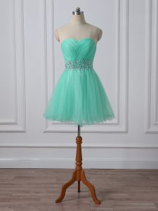 Apple Green Lace Up Sweetheart Beading and Ruching Prom Evening Gown Organza Sleeveless