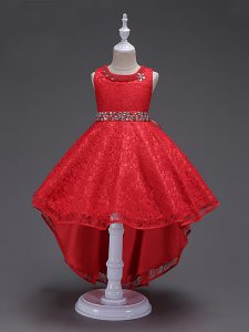 Scoop Sleeveless Lace Up Little Girls Pageant Gowns Red Lace