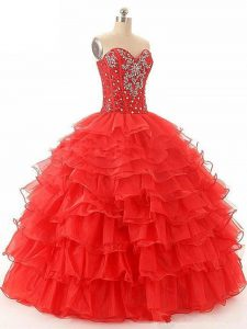 Red Lace Up Quinceanera Dress Beading and Ruffled Layers Sleeveless Floor Length