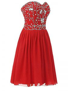 Empire Dress for Prom Red Sweetheart Chiffon Sleeveless Knee Length Zipper