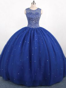 Ball Gowns Sweet 16 Quinceanera Dress Royal Blue Scoop Tulle Sleeveless Floor Length Zipper