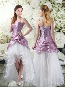 High Low White And Purple Bridal Gown Tulle Sleeveless Ruffles