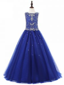 Scoop Sleeveless Lace Up Little Girls Pageant Dress Royal Blue Tulle