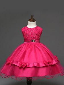 Stylish Scoop Sleeveless Child Pageant Dress Knee Length Lace and Bowknot Hot Pink Tulle