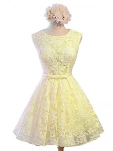 Belt Quinceanera Court of Honor Dress Yellow Lace Up Sleeveless Knee Length