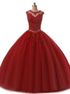 Spectacular Tulle Scoop Sleeveless Lace Up Beading and Lace Quinceanera Dresses in Burgundy