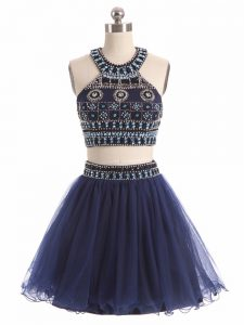 Scoop Sleeveless Mini Length Beading Navy Blue Tulle