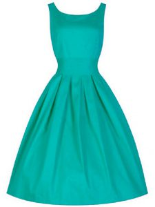 Luxurious Sleeveless Taffeta Knee Length Lace Up Dama Dress for Quinceanera in Turquoise with Ruching