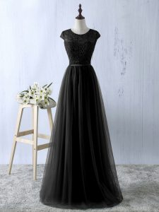 Excellent Empire Dress Like A Star Black Scoop Tulle Sleeveless Floor Length Zipper