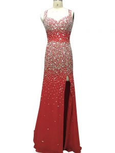 Sleeveless Beading Backless Evening Dresses with Burgundy Brush Train