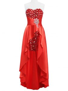 Coral Red Empire Elastic Woven Satin Sweetheart Sleeveless Beading and Ruching Floor Length Zipper Prom Dresses