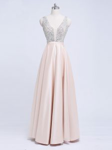 Cheap Champagne V-neck Neckline Beading and Belt Evening Dress Sleeveless Backless