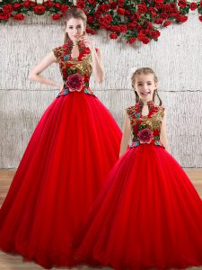 Delicate Red Ball Gowns High-neck Sleeveless Organza Floor Length Lace Up Appliques Sweet 16 Dress