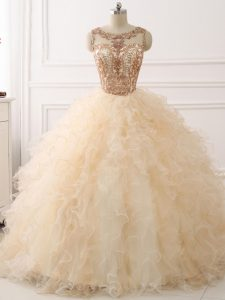 Champagne Sleeveless Beading and Ruffles Lace Up 15th Birthday Dress