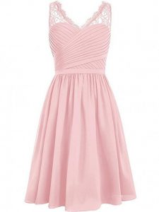 V-neck Sleeveless Chiffon Dama Dress for Quinceanera Lace and Ruching Side Zipper