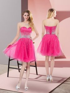 Sleeveless Lace Up Mini Length Beading Homecoming Gowns