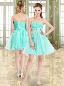 Most Popular Apple Green Lace Up Sweetheart Beading Evening Dress Organza and Chiffon Sleeveless