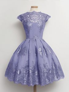 Excellent Tulle Scalloped Cap Sleeves Lace Up Lace Quinceanera Court Dresses in Lavender
