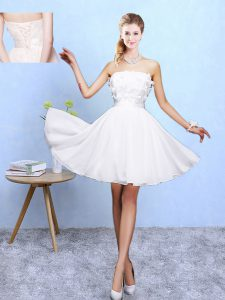 White Off The Shoulder Lace Up Appliques Bridesmaid Dress Sleeveless