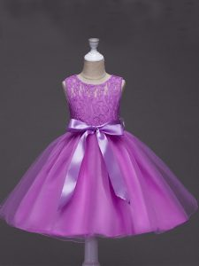 Ball Gowns Party Dress for Toddlers Lilac Scoop Tulle Sleeveless Knee Length Zipper