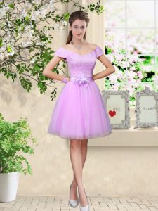 Lilac V-neck Neckline Lace and Belt Quinceanera Court Dresses Cap Sleeves Lace Up