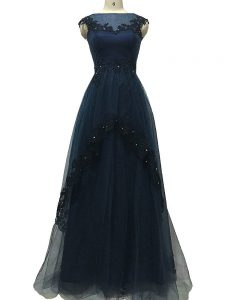 Admirable Tulle Sleeveless Floor Length Mother Dresses and Lace and Appliques