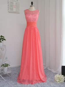 Elegant Watermelon Red Scoop Neckline Lace Wedding Party Dress Sleeveless Zipper
