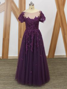 Purple Empire Tulle Scoop Short Sleeves Lace and Appliques Floor Length Zipper Mother Dresses
