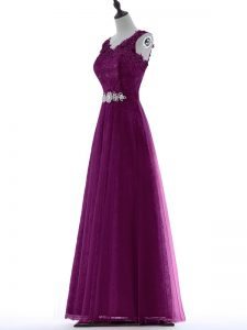 Delicate Floor Length Purple Celebrity Evening Dresses V-neck Sleeveless Zipper