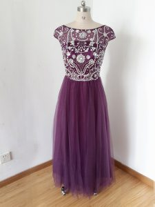 Spectacular Eggplant Purple Prom Party Dress Scoop Short Sleeves Zipper