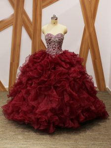 Sleeveless Beading and Ruffles Lace Up 15th Birthday Dress with Burgundy Brush Train