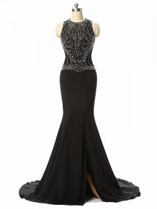 Sleeveless Beading Side Zipper Evening Gowns with Black Brush Train