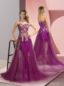 Fantastic Sweetheart Sleeveless Club Wear Brush Train Appliques Purple Tulle