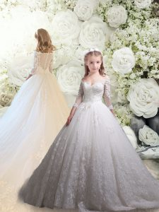 Designer White Flower Girl Dresses for Less Tulle Chapel Train 3 4 Length Sleeve Lace