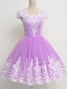 Superior Tulle 3 4 Length Sleeve Knee Length Quinceanera Dama Dress and Lace