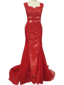 Zipper Mother of the Bride Dress Red for Prom and Military Ball and Beach with Lace Brush Train