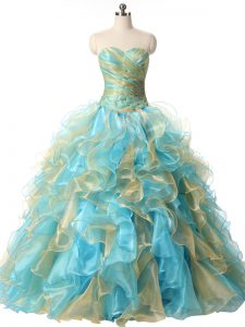 Multi-color Lace Up Sweet 16 Quinceanera Dress Beading and Ruffles Sleeveless Floor Length