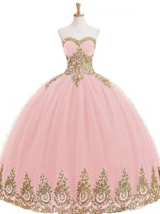 Designer Tulle Sweetheart Sleeveless Lace Up Appliques Sweet 16 Quinceanera Dress in Baby Pink